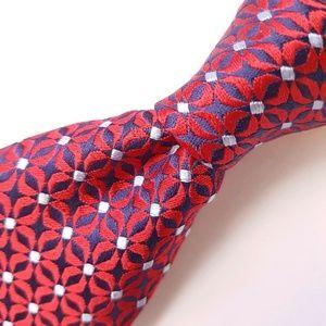 "ERMENEGILDO ZEGNA Red Blue Floral Silk Tie - 3"" W"